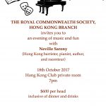 RCS Evening of Music and Fun with Neville Sarony, 18 Oct