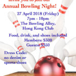 Annual Bowling Night on 27 Apr