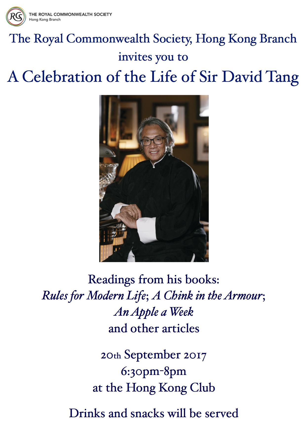 Sir David Tang memorial